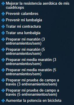 Algunos objetivos predefinidos en la web de Compex Wireless
